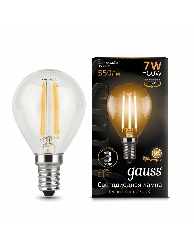 Лампочка Gauss 105801107 P45 E14 7 Вт 2700K