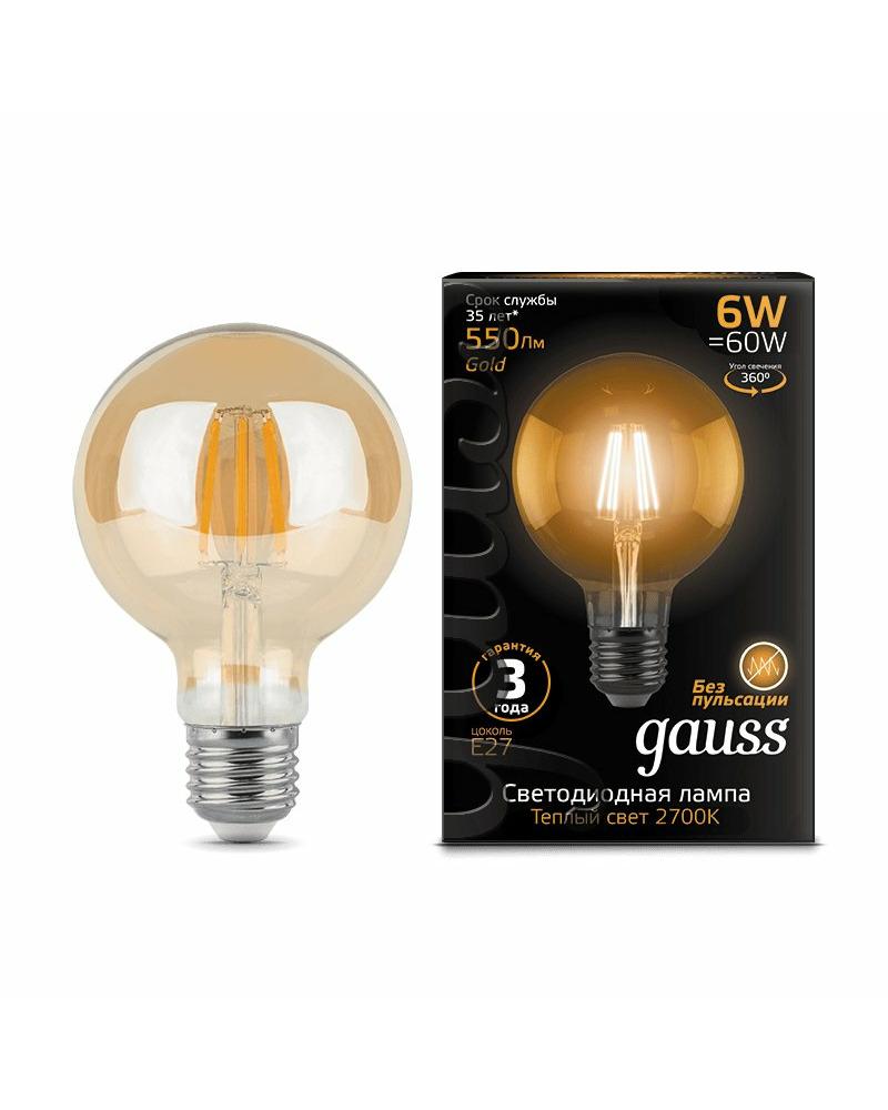 Лампочка Gauss 105802006 G95 E27 6 Вт 2400K