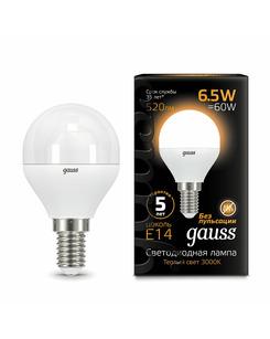 Лампочка Gauss 105101107 P45 E14 6.5 Вт 3000K
