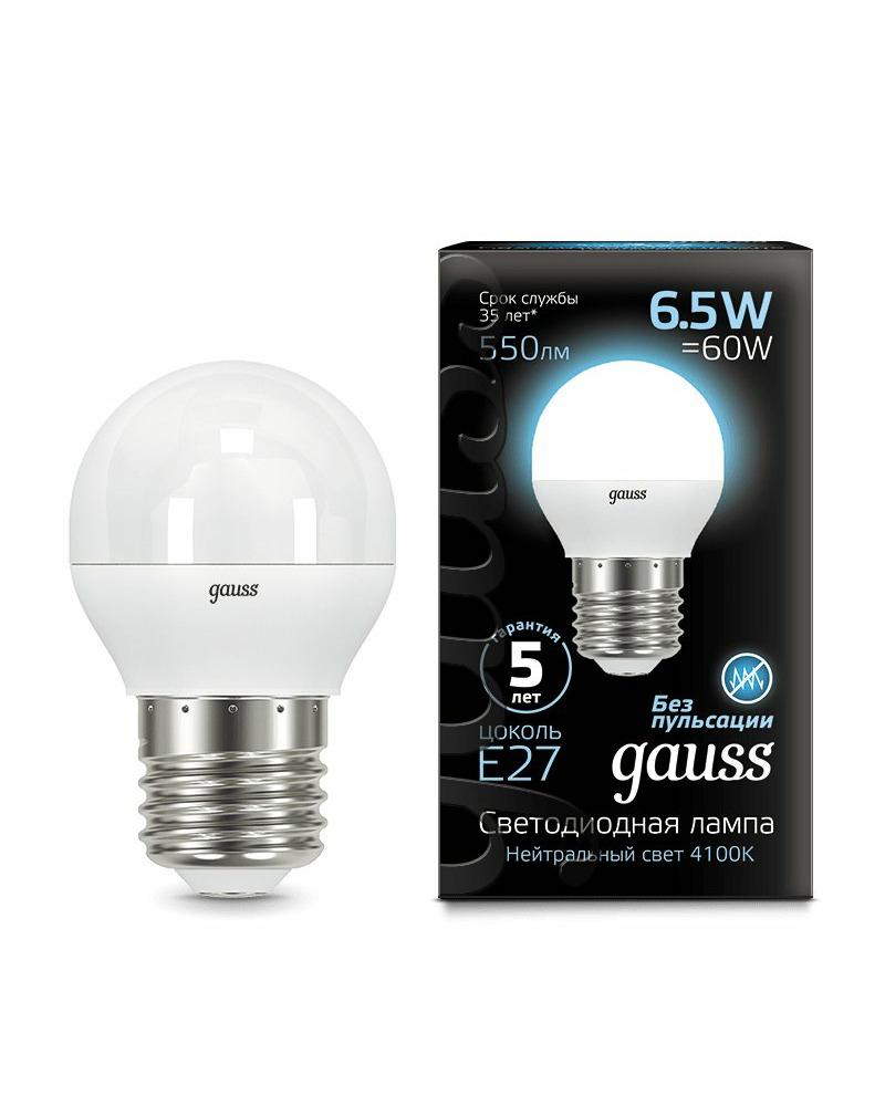 Лампочка Gauss 105102207 P45 E27 6.5 Вт 4100K