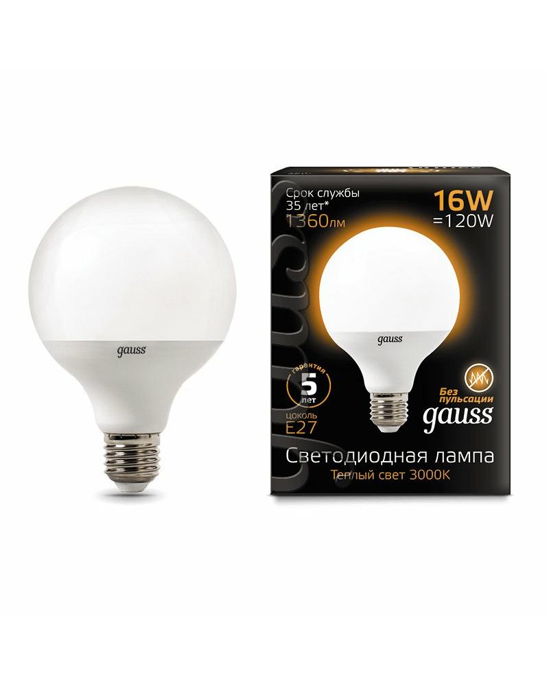 Лампочка Gauss 105102116 G95 E27 16 Вт 3000K