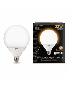 Лампочка Gauss 105102122 G125 E27 22 Вт 3000K