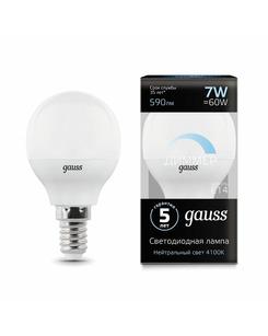 Лампочка Gauss 105101207-D P45 E14 7 Вт 4100K