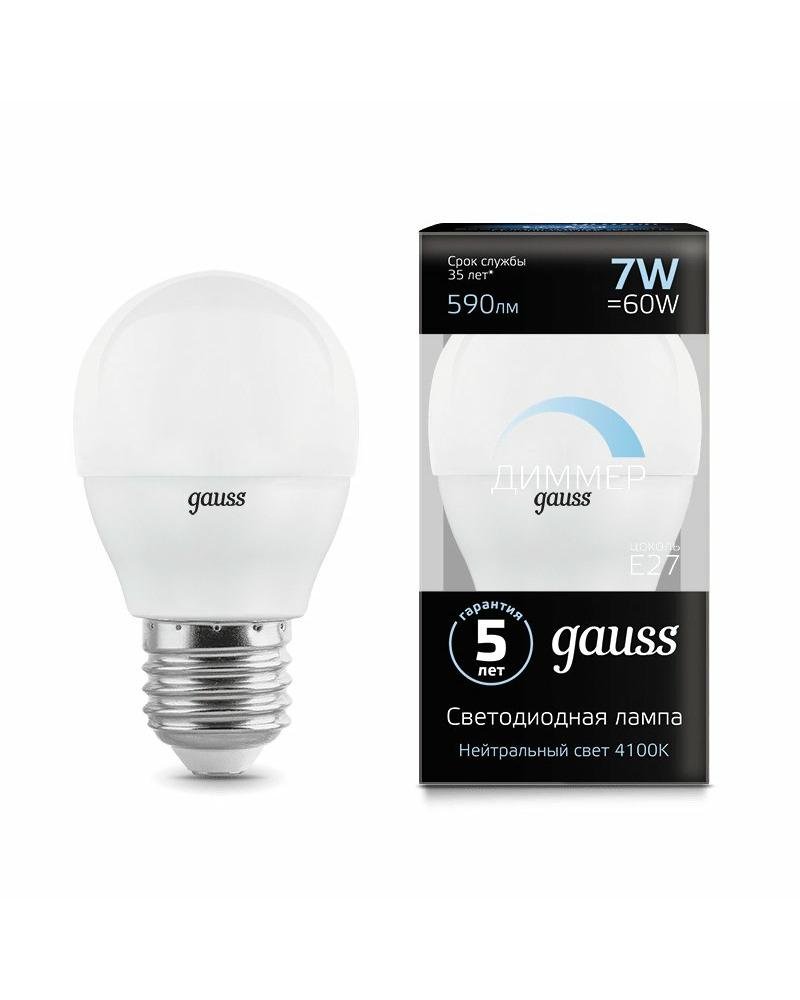 Лампочка Gauss 105102207-D P45 E27 7 Вт 4100K