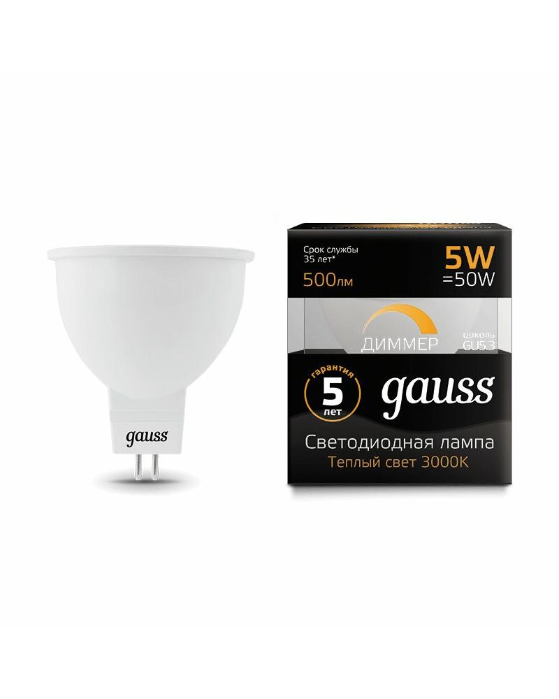 Лампочка Gauss 101505105-D MR16 GU5.3 5 Вт 3000K