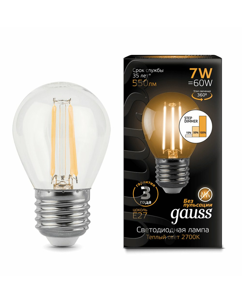 Лампочка Gauss 105802107-S P45 E27 7 Вт 2700K